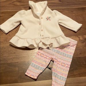 RL baby girls button font top and leggings